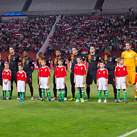 Members of team Netherlands line up before a World Cup 2014 qualifying soccer match Hungary playing against Netherlands in Budapest, Hungary on September 11, 2012. ATTILA VOLGYI