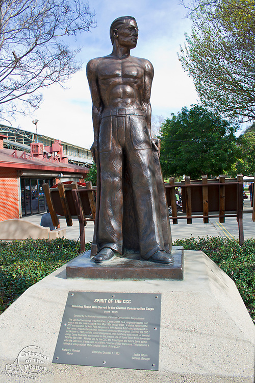 """""""Spirit of the CCC"""" statue at Travel Town, Griffith Park, Los Angeles, California, USA"""