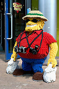 Lego tourist, Legoland theme park with lego model village, rides, gold panning, car racing Windsor, UK