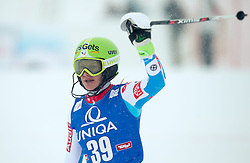 29.12.2014, Hohe Mut, Kühtai, AUT, FIS Ski Weltcup, Kühtai, Slalom, Damen, 2. Durchgang, im Bild Adeline Baud (FRA) // Adeline Baud of France reacts after 2nd run of Ladies Giant Slalom of the Kuehtai FIS Ski Alpine World Cup at the Hohe Mut Course in Kuehtai, Austria on 2014/12/29. EXPA Pictures © 2014, PhotoCredit: EXPA/ JFK