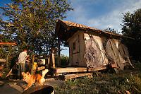 Old fisherman's cabin along the Danube, Gornje Podunavlje Special Nature Reserve, Serbia