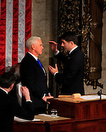 Vice President Pence and Speaker of the House Paul Ryan on the House podium before President Trump arrives to give a speech to a joint session of Congress onFebruary 28, 2017<br /> <br /> Photo by Dennis Brack