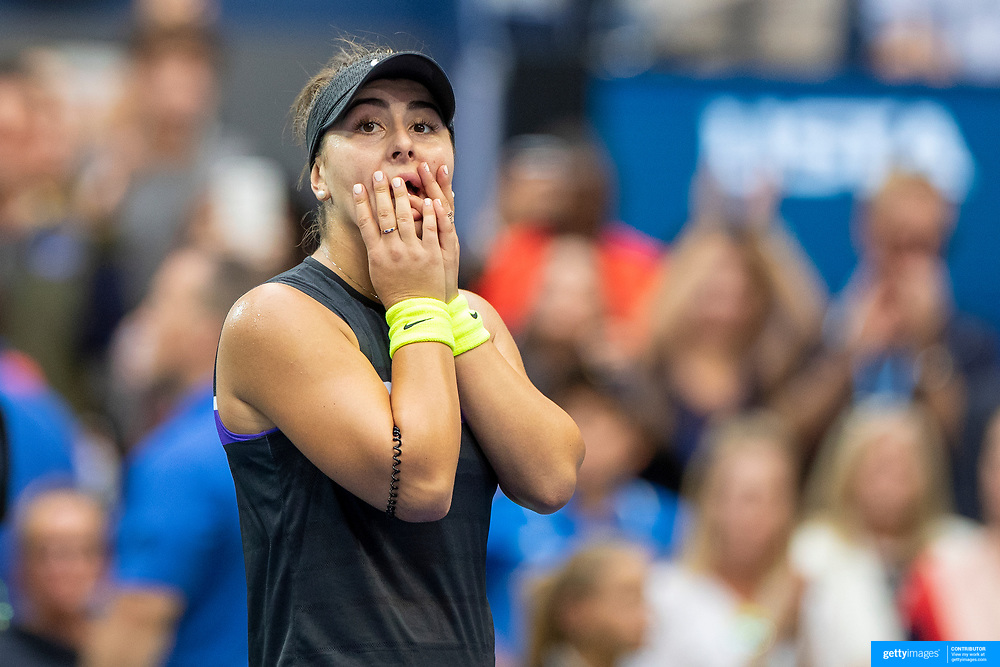 2019 US Open Tennis Tournament- Day Thirteen.    Bianca Andreescu of Canada reacts after her victory against Serena Williams of the United States in the Women's Singles Final on Arthur Ashe Stadium during the 2019 US Open Tennis Tournament at the USTA Billie Jean King National Tennis Center on September 7th, 2019 in Flushing, Queens, New York City.  (Photo by Tim Clayton/Corbis via Getty Images)