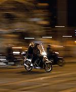Mopeds at night, Rome, Italy