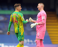 Football - 2020 / 2021 Premier League - Chelsea vs West Bromwich Albion - Stamford Bridge<br /> <br /> Goalkeeper, Sam Johnstone of West Brom is congratulated by Conor Townsend after assisting in the 2nd goal from his long kick.<br /> <br /> Credit COLORSPORT/Andrew Cowie