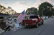 Denham Springs, Louisiana on Sept 1, 2016. Contents from homes and businesses line the street in the floods aftermath.