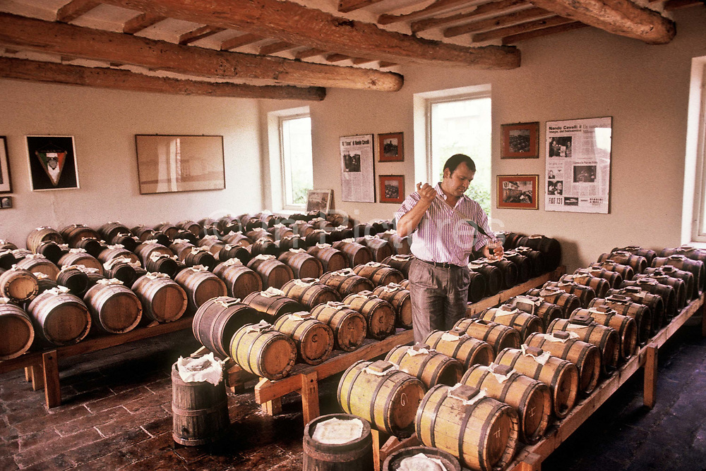 Giovanni Cavali sampling and mixing years old highly priced Balsamic vinegar in his family run business. The Balsamic vinegar is mixed in aged Cherry oak casks for differing lengths of time to give it its unique characteristic flavour, Modena, Italy