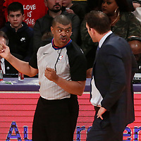 25 December 2017: referee Tony Brothers (25) talks to Los Angeles Lakers head coach Luke Walton during the Minnesota Timberwolves 121-104 victory over the LA Lakers, at the Staples Center, Los Angeles, California, USA.