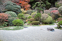 """Hokukuji Temple, sometimes call """"the Bamboo Temple"""" because of its large bamboo grove, was once the family temple of both the Ashikaga and Uesugi clans.  The temple and zen gardens were established by a Zen Buddhist monk Tengan Eko.  The zen garden uses """"borrowed scenery"""" from the surrounding landscape."""