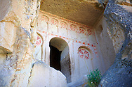 Early Christian rock cave churches in the tuff rock at Goreme Park, Cappadocia, Turkey .<br /> <br /> If you prefer to buy from our ALAMY PHOTO LIBRARY  Collection visit : https://www.alamy.com/portfolio/paul-williams-funkystock/cappadociaturkey.html (TIP refine search - type which part of Cappadocia into the LOWER search box)<br /> <br /> Visit our TURKEY PHOTO COLLECTIONS for more photos to download or buy as wall art prints https://funkystock.photoshelter.com/gallery-collection/3f-Pictures-of-Turkey-Turkey-Photos-Images-Fotos/C0000U.hJWkZxAbg