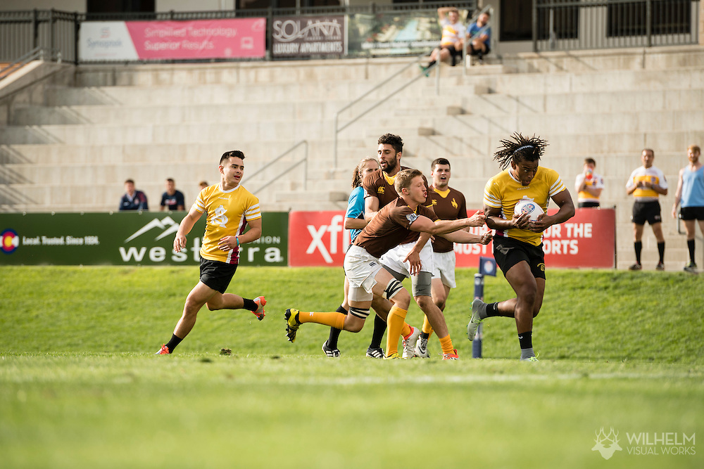 Arizona State University takes on the University of Wyoming at Red Bull Uni 7s Rugby Qualifiers at Infinity Park in Glendale, CO, USA, on 25 August, 2016.
