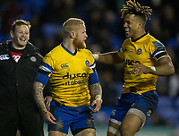 Bath Rugby's Tom Homer celebrates scoring his side a try with Bath Rugby's Anthony Watson and Bath Rugby's Chris Cook<br /> <br /> Photographer Bob Bradford/CameraSport<br /> <br /> Gallagher Premiership - London Irish v Bath Rugby - Sunday 22nd December 2019 - Madejski Stadium - Reading<br /> <br /> World Copyright © 2019 CameraSport. All rights reserved. 43 Linden Ave. Countesthorpe. Leicester. England. LE8 5PG - Tel: +44 (0) 116 277 4147 - admin@camerasport.com - www.camerasport.com