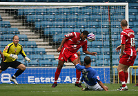 Photo: Rich Eaton.<br /> <br /> Millwall v Swindon Town. Coca Cola League 1. 29/09/2007. Swindon's Jerel Ifil (C) blocks a shot with his head from close range.