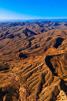 Aerial view over desolate sections of the Chihuahuan Desert near Big Bend National Park, Texas USA.