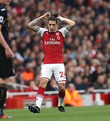 28 October 2017 London: Premier League Football: Arsenal v Swansea City : Hector Bellerin of Arsenal arranges the top knot in his hair.<br /> Photo: Mark Leech
