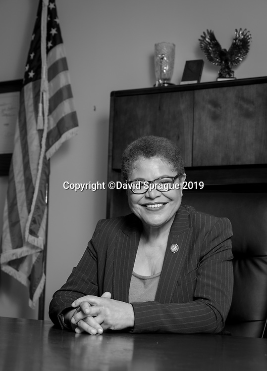 Karen Ruth Bass is serving as the U.S. Representative for California's 37th congressional district. A member of the Democratic Party, she previously represented the 33rd congressional district from 2011 to 2013.  Shot in her office in Los Angeles, CA. September 4th, 2019.  Photo by David Sprague