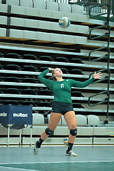 26 August 2017:  Emily Kase during the green-white scrimmage of the Illinois Wesleyan Titans in Shirk Center, Bloomington IL
