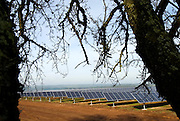 Solar power plant landscape view.<br />The plant is located near Brinches, a small rural village, and built in farmland.