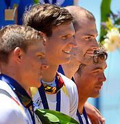 Seville. Andalusia. SPAIN.   GER M4X,  Lauritz SCHOOF Awards Dock, Gold medalist  2013 FISA European Rowing Championship.  Guadalquivir River.  Sunday  02/06/2013.  [Mandatory Credit. Peter Spurrier/Intersport]