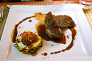 Hotel Residence in Nissan-lez-Enserune La Clape. Languedoc. Canette roti avec lasagne de legumes. A small grilled roast duck duckling with a lasagne with vegetables and a white square plate. France. Europe.