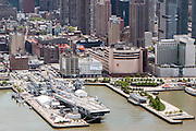 Aerial view of Manhattan, New York City, NY USA The Intrepid Museum