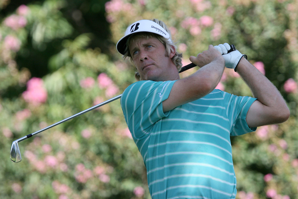 10 August 2007: Stuart Appleby tees off on the 9th hole during the second round of the 89th PGA Championship at Southern Hills Country Club in Tulsa, OK.