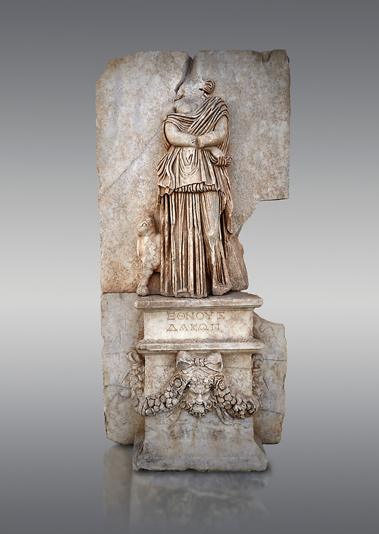 Roman Sebasteion relief sculpture of Ethnos of the Dacians Aphrodisias Museum, Aphrodisias, Turkey. <br /> <br /> The Dacians are shown as a captive Barbarian woman. Her arms are crossed in submission, her thick dress slips off the shoulder slightly partly revealing her breast. The forepart of a small bull stands in profile behind. Dacia (modern Romania) was claimed by Augustus as a conquest in 1BC to 4AD .<br /> <br /> If you prefer to buy from our ALAMY STOCK LIBRARY page at https://www.alamy.com/portfolio/paul-williams-funkystock/greco-roman-sculptures.html . Type -    Aphrodisias     - into LOWER SEARCH WITHIN GALLERY box - Refine search by adding a subject, place, background colour, museum etc.<br /> <br /> Visit our ROMAN WORLD PHOTO COLLECTIONS for more photos to download or buy as wall art prints https://funkystock.photoshelter.com/gallery-collection/The-Romans-Art-Artefacts-Antiquities-Historic-Sites-Pictures-Images/C0000r2uLJJo9_s0
