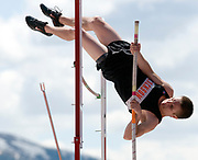 NEWS&GUIDE PHOTO / PRICE CHAMBERS<br /> Jackson junior Jordan Thornock pole vaults to tie his personal best at 10 feet Friday at the 3-A West Regional Track and Field meet at William T. McIntosh stadium. Thornock came in seventh place for the event.