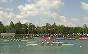 FISA World Cup Rowing Munich Germany..Photo Peter Spurrier 29/05/2004. Finals day...Men's quad final... Rowing Course, Olympic Regatta Rowing Course, Munich, Germany [Mandatory Credit: Peter Spurrier: Intersport Images].