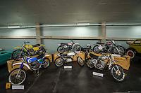 Vintage Motorcycles (1st row): 1975 Bultaco Pursang; 1968 Yamaha DT1-250; 1971 American Eagle 405 Talon; (2nd row):   Maico (yellow); 1974 Yamaha YZ250; 1967 Husqvarna Viking 360