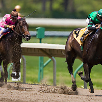 """(PPAGE1) Oceanport 5/14/2005 """"Arielle Crown"""" riden by Eibar Coa takes first place over """"WHATSTHEGAMEPLAN"""" riden by Jose Ferrer during the second race of the day at Monmouth Park.     Michael J. Treola Staff Photographer....MJT"""
