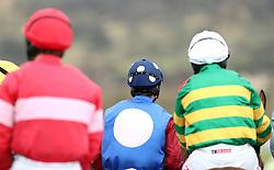 Jockeys during the Gold Cup Friday of the 2018 Cheltenham Festival at Cheltenham Racecourse.
