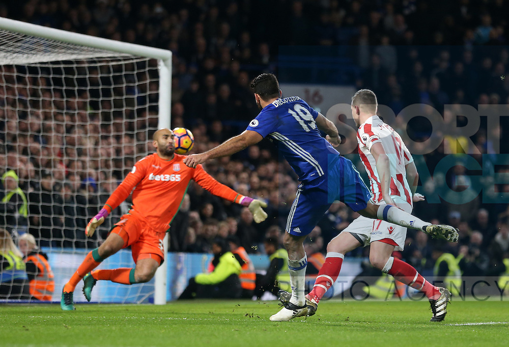 Chelsea's Diego Costa scoring his sides fourth goal during the Premier League match at Stamford Bridge Stadium, London. Picture date December 31st, 2016 Pic David Klein/Sportimage