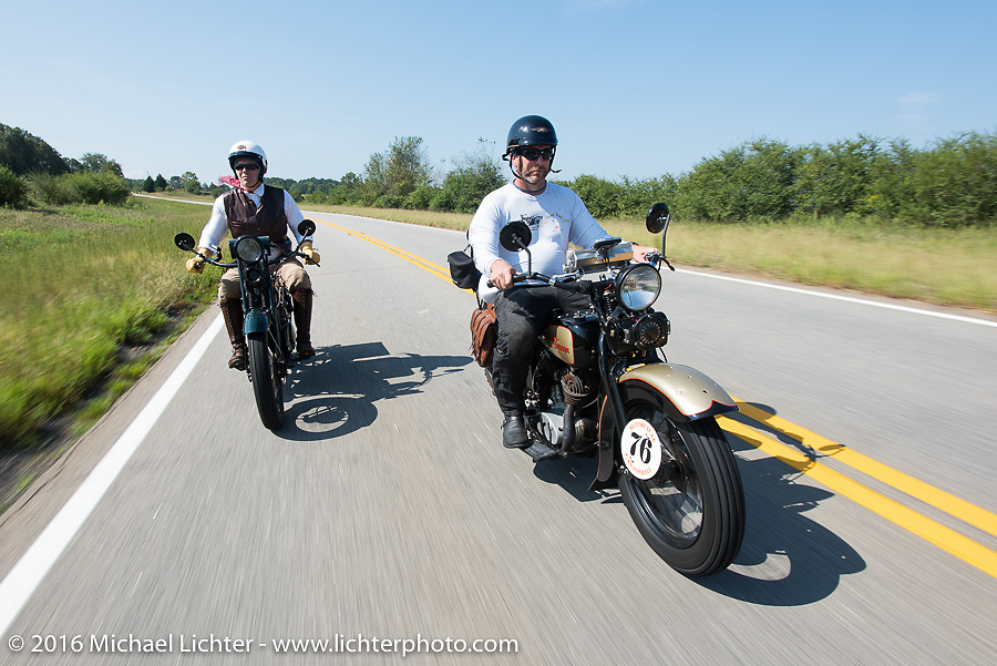 """""""Team Vino"""" - Dean Bordigioni (Dino) on his 1923 Harley-Davidson JS with his Swedish friend Robert Gustavsson (Big Swede) on his 1931 Harley-Davidson VL during Stage 3 of the Motorcycle Cannonball Cross-Country Endurance Run, which on this day ran from Columbus, GA to Chatanooga, TN., USA. Sunday, September 7, 2014.  Photography ©2014 Michael Lichter."""