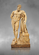 End of 2nd century beginning of 3rd century AD Roman marble sculpture of Hercules at rest copied from the second half of the 4th century BC Hellanistic Greek original,  inv 6001, Farnese Collection, Museum of Archaeology, Italy ..<br /> <br /> If you prefer to buy from our ALAMY STOCK LIBRARY page at https://www.alamy.com/portfolio/paul-williams-funkystock/greco-roman-sculptures.html . Type -    Naples    - into LOWER SEARCH WITHIN GALLERY box - Refine search by adding a subject, place, background colour, etc.<br /> <br /> Visit our ROMAN WORLD PHOTO COLLECTIONS for more photos to download or buy as wall art prints https://funkystock.photoshelter.com/gallery-collection/The-Romans-Art-Artefacts-Antiquities-Historic-Sites-Pictures-Images/C0000r2uLJJo9_s0