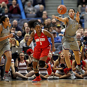 HARTFORD, CONNECTICUT- DECEMBER 19: Gabby Williams #15 of the Connecticut Huskies throws a pass watched by Napheesa Collier #24 of the Connecticut Huskies and Stephanie Mavunga #1 of the Ohio State Buckeyes during the UConn Huskies Vs Ohio State Buckeyes, NCAA Women's Basketball game on December 19th, 2016 at the XL Center, Hartford, Connecticut (Photo by Tim Clayton/Corbis via Getty Images)