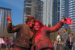 United States, Washington, Bellevue, Holi Festival in Bellevue Downtown Park