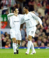 Photo. Jed Wee.<br /> Liverpool v Bolton Wanderers, Carling Cup, Anfield, Liverpool. 03/12/03.<br /> Bolton goalscorer Mario Jardel (R) is congratulated by team mate Youri Djorkaeff.