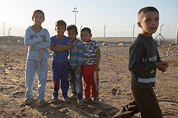 Licensed to London News Pictures. 22/10/2016. Young Iraqi refugees are seen at the Dibaga refugee camp near Makhmur, Iraq.<br />