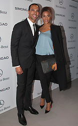© Licensed to London News Pictures. 18 February 2014, London, England, UK. Pictured: Marvin Humes, Rochelle Humes née Wiseman. Celebrities attend the Mercedes-Benz sponsored SIMONGAO show during London Fashion Week AW14 at the BFC Courtyard Show Space/Somerset House. Photo credit: Bettina Strenske/LNP