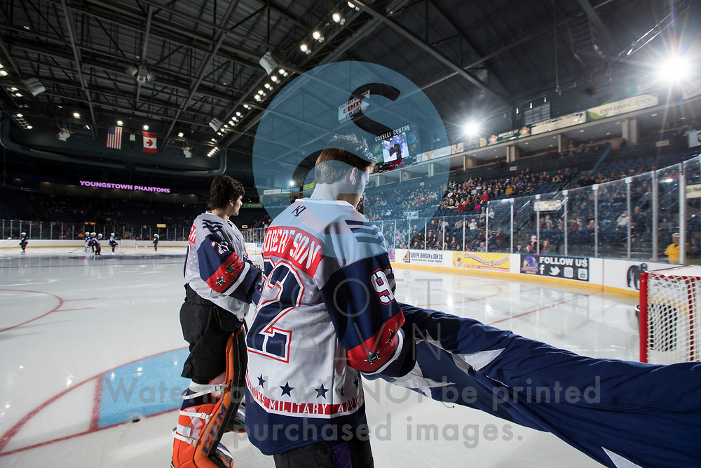 The Youngstown Phantoms lose 4-3 to Team USA NTDP at the Covelli Centre on February 16, 2019. Featuring special jerseys for Military Appreciation Night.<br /> <br /> Liam Robertson, forward, 92; Christian Stoever, goalie, 29
