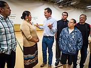 17 MAY 2019 - MESKWAKI, IOWA: Governor STEVE BULLOCK (D-MT) talks to community leaders at the Meskwaki settlement, a Native American community in Iowa. Gov. Bullock joined a crowded field of Democrats vying to be the party's Presidential nominee in 2020. Iowa traditionally hosts the the first election event of the presidential election cycle. The Iowa Caucuses will be on Feb. 3, 2020.                       PHOTO BY JACK KURTZ