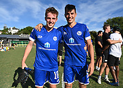 Owen Comber and Agustin Nicholas pose for a photo as they make the finals. ISPS Handa Men's Premiership football match between Eastern Suburbs AFC and Hamilton Wanderers at Madills Farm in Auckland. Sunday 21 February 2021. © Coyright image by Andrew Cornaga / www.photosport.nz
