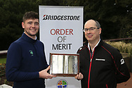 Colm Conyngham Bridgestone Ireland with Rob Brazil (Naas) winner of the Bridgestone Order of Merit at the presentations in the GUI National Academy, Maynooth, Kildare, Ireland. 30/11/2019.<br /> Picture Fran Caffrey / Golffile.ie<br /> <br /> All photo usage must carry mandatory copyright credit (© Golffile | Fran Caffrey)