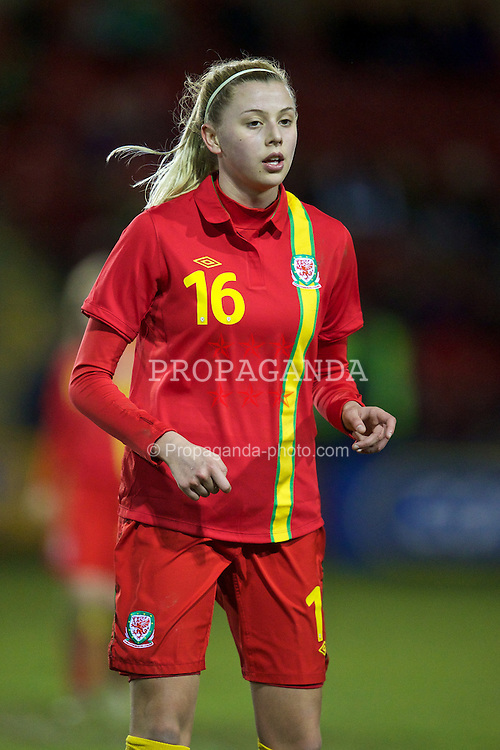 NEWTOWN, WALES - Friday, February 1, 2013: Wales' Ellie Leek in action against Norway during the Women's Under-19 International Friendly match at Latham Park. (Pic by David Rawcliffe/Propaganda)