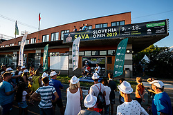 Blaz Rola of Slovenia in players corner with his fans after winning in 3rd Round of ATP Challenger Zavarovalnica Sava Slovenia Open 2019, day 7, on August 15, 2019 in Sports centre, Portoroz/Portorose, Slovenia. Photo by Matic Klansek Velej  / Sportida