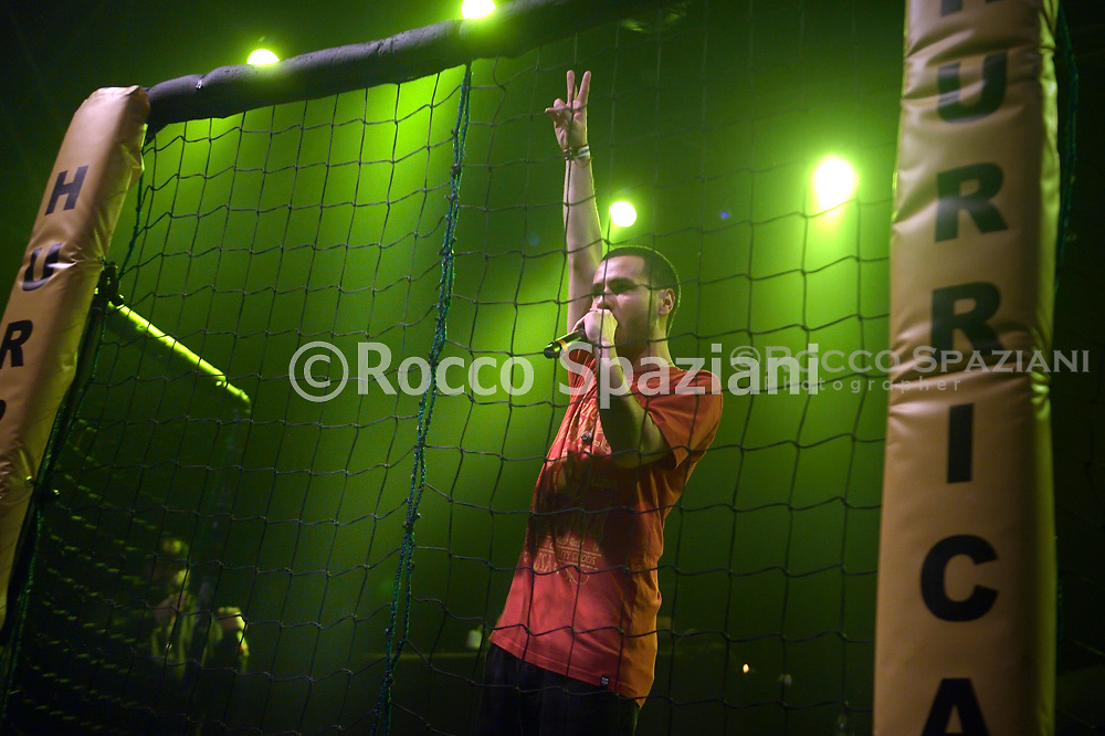 """The young Italian singer rapper Carboh finalist contestant of the """"Hurricane Tournament"""" competition, organized by the Roman rapper Mezzosangue in concert at the Atlantic in Rome. Rome (Italy),January 25th ,2020"""