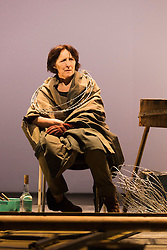 """© Licensed to London News Pictures. 06/05/2014. London, England. """"The Testament of Mary"""" performed by actress Fiona Shaw at the Barbican Theatre, London. Running from 1 to 25 May 2014. Directed by Deborah Warner based on the novel by Colm Tóibín. Photo credit: Bettina Strenske/LNP"""
