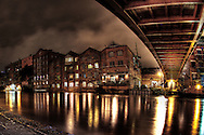 High dynamic range (HDR), long exposure photograph, taken in Leeds city centre, United Kingdom, over the river towards Calls Landing, near Brewery Wharf