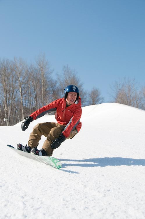 Snowboarder Jordan Hedlund at Marquette Mountain
